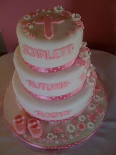 A christening cake for 3 girls