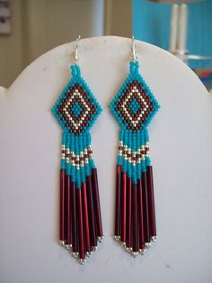 "Native American Beaded Turquoise, Garnet and Silver Earrings ""Great Gift"""