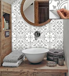 Tile Stickers Vinyl Decal WATERPROOF REMOVABLE for kitchen bath wall floor or stair: gray SNAZZYDECAL offers you an easy and quick way to update your home without the mess in knocking off the wall. Orders are in the pack… Continue Reading → Tile Decals, Vinyl Decals, Vinyl Wall Tiles, Vinyl Flooring, Self Stick Vinyl Tile, Small Bathroom, Master Bathroom, Stick On Tiles Bathroom, Stick On Wall Tiles