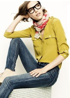 love the blouse scarf combo