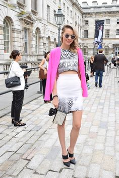More monochromatic vibes at #LFW but with a fun pop of pink this time   Mint Velvet