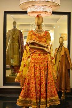 Sunset Yellow Resham Work - Tarun Tahiliani #wedmegood #anarkali