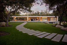 Architecture, Contemporary House Exterior Design Stone Pathway Glass Pavilion Villa: Elegant Villa Stating Lavish Concept