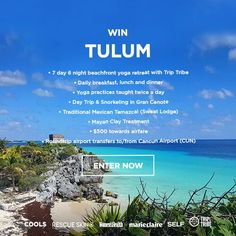 WIN a week-long yoga retreat!  NO PURCH NECESSARY. Open to 48 US & DC (excluding AK, HI, PR & CAN), 18+. Ends 8/12/16. See rules at: http://experience.cools.com/landing?promo_id=cdd01fc2-7558-411e-868d-16001cb8f315&campaign_id=531