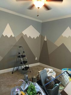 Simple mountain mural.  Can add color instead of doing gray.  Also, add sun/cloud painting to this.