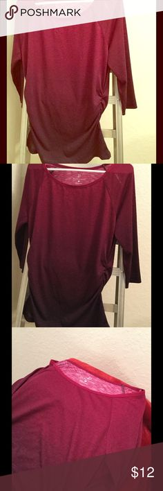 🌟🆕NWT New York & Co. Cranberry Maroon Top🌟 🌟🆕NWT New York & Co. Cranberry Maroon Top.  Size M.  Never worn.  3/4 Sleeves.  Chest approx 18 in, length approx 27 in.  100% polyester.  Cranberry color on top and mixes with dark maroon/purple color towards the bottom.  Unique top!  👚 New York & Company Tops