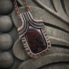 Wire Jewelry Image of Pilbara Jasper Pendant - Pilbara jasper cabochon woven in oxidized copper wire. This pendant measures 51 mm tall by 31 mm wide. Copper Wire Jewelry, Moon Jewelry, Sea Glass Jewelry, Wire Pendant, Wire Wrapped Pendant, Pendant Jewelry, Bracelet Fil, Wire Wrapping Crystals, Wire Necklace