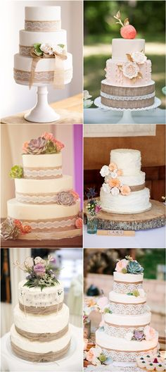 Rustic Country Burlap Wedding Cakes / http://www.deerpearlflowers.com/rustic-country-burlap-wedding-cakes/