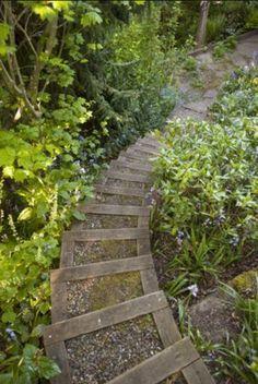 Steep yard stairs