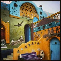 Maybe they like a colourful environment too??  Nuba hotel, Egypt