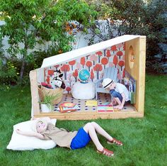 Mer Mag: An Outdoor Book Nook with Pottery Barn Kids! Backyard Fort, Backyard Playground, Backyard For Kids, Pottery Barn Kids, Play Spaces, Play Areas, Book Nooks, Outdoor Play, Play Houses