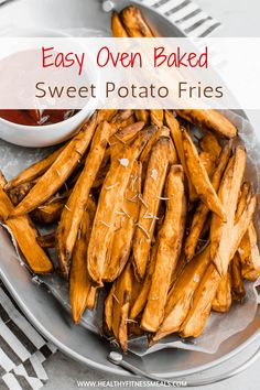 This easy to make Baked Sweet Potato Fries recipe is perfect as a side dish, appetizer or even snack! They are crispy and tender on the inside Sweet Potato Fries Healthy, Healthy Potatoes, Fried Potatoes, Best Dinner Recipes, Whole Food Recipes, Healthy Recipes, Healthy Dinners, Amazing Recipes, Delicious Recipes