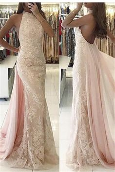 Halter Sweep-Train Newest Backless Mermaid Tulle Applqiues Evening Dress