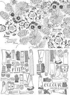 going back to basic - pen and ink drawing Doodle Patterns, Textile Patterns, Print Patterns, White Patterns, Coloring Pages For Kids, Coloring Books, Colouring, Map Mind, Floral Illustrations