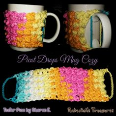 Crochet Patterns Wear Picot Drops Mug Cozy Crochet Bowl, Crochet Crafts, Crochet Yarn, Free Crochet, Mug Cozy Pattern, Tea Cosy Knitting Pattern, Crochet Coffee Cozy, Easy Crochet Projects, Crochet Kitchen