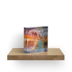 acrylic block, home accessories,decor,cool,beautiful,fancy,unique,trendy,artistic,awesome,fahionable,unusual,gifts,presents,for sale,design,ideas,ocean,sunset,waves,colorful,orange