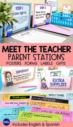 Back to School Meet the Teacher Kit EDITABLE Forms Signs Labels PASTELS Managing Meet the Teacher Night is easy with these parent stations! This EDITABLE classroom management kit includes 10 important parent information forms, parent s Get To Know You Activities, Kids Learning Activities, Kindergarten Activities, Parent Forms, Meet The Teacher Template, Curriculum Night, School Forms, Back To School Night, Student Behavior