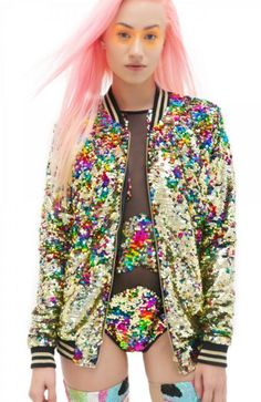 2d56410c54a Rainbow sequin bomber jacket and jumpsuit.    Pinned on  benitathediva