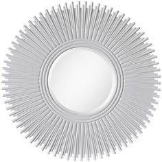 Jemima Modern Classic White Lacquer Sunburst Mirror ($923) ❤ liked on Polyvore featuring home, home decor, mirrors, contemporary modern mirrors, sun burst mirror, white mirror, contemporary home accessories and contemporary mirrors