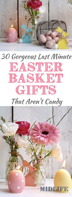 I love this creative list of Easter basket ideas for kids that are filled with alternatives to candy! Check out these simple and Easter basket stuffers that won't have you running to the dentist! #Easterbasket #Easter www.themidlifemamas.com