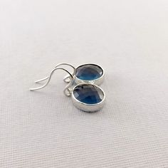 Montana Blue Faceted With Silver Earrings by CinLynnBoutique