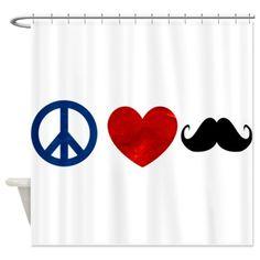 Peace Love Mustache Shower Curtain on CafePress.com