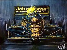 27 imagens para lembrar a carreira de Senna - Motor Show Indy Car Racing, Indy Cars, Sport Cars, Race Cars, F1 Lotus, Vintage Racing, Vintage Cars, Acrilic Paintings, Gilles Villeneuve
