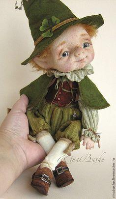Купить Элиус - зелёный, лепрекон, человечек, гном, войлочная игрушка, войлочная кукла, авторская кукла