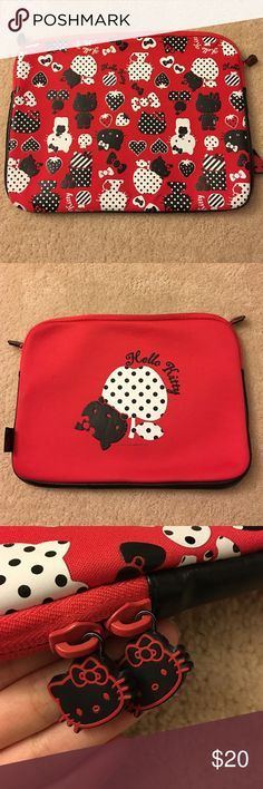 """Hello Kitty Laptop Case (15"""") Red hello kitty laptop case in wonderful condition! Very protective! Sanrio Accessories Laptop Cases"""