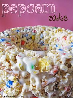"According to food blog ""Cookies and Cups"", it's a ""cake made of buttery, salty popcorn, dotted with colorful M&Ms and salty pretzel sticks, all held together by sticky, sweet marshmallow."""