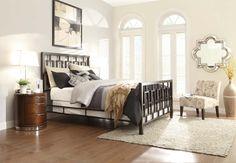 2865-1 Zelda Modern Brushed Brown Metal Bedroom Collection Bed Homelegance