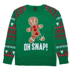 Girls' Lol Vintage Oh Snap Ugly Christmas Sweater Green