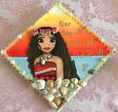 My Moana graduation cap!  #Moana #moanagraduationcap #disney #graduationcapideas #graduationcap #classof2017