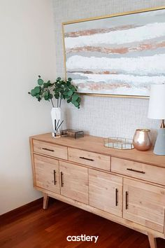 Sleek, yet minimalist. The Miles sideboard brings a clean, classic vibe in your home. Home Living Room, Interior Design Living Room, Living Room Designs, Living Room Decor, Bedroom Decor, Casa Retro, Cute Room Decor, Acacia Wood, Industrial Chic