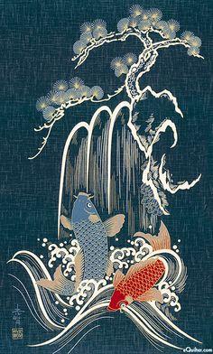 Two koi pines Japanese Artwork, Japanese Painting, Japanese Prints, Japanese Koi, Koi Painting, Japon Illustration, Japanese Illustration, Koi Art, Fish Art