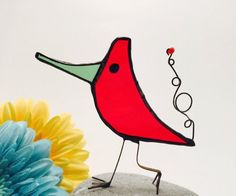 Red Scrappy Bird Stained Glass Bird