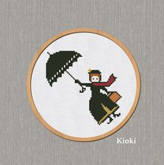 Cross Stitch Pattern Mary Poppins by TinyNeedle on Etsy, $4.00