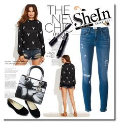 """""""Shein sweatshirt"""" by irinavsl ❤ liked on Polyvore featuring Frame Denim and Christian Dior"""