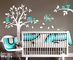 Owls Tree Wall Decal Owl Wall Decal Nursery Wall Sticker Personalized custom name initial decal Kids Baby Room Wall Decal Owls on Branch