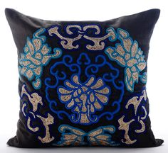 Luxury Black Decorative Cushion Covers 16x16 by TheHomeCentric