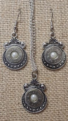Antique Bullet Earring and Necklace Set in your choice of colors #bullet-jewelry #bullet-sets Only $25.00 Available at www.bangblingbulletjewelry.com