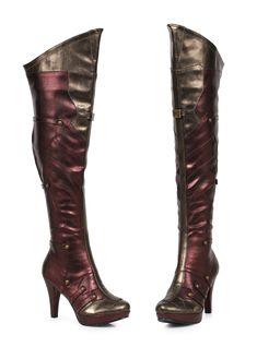 5bff9036b1fd  Red Gold Wonder Thigh High Boots 4 Inch Heel Ellie Costume Footwear  Ellie