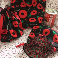 Remembrance day bags, Poppy Day drawstring bag , remembrance day, lest we forget