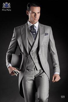 Traje de novio chaqué italiano a medida fil a fil gris modelo 909 Ottavio Nuccio Gala colección Gentleman 2015.
