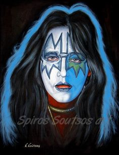Ace Frehley KISS painting portrait, acrylics 97x75cm canvas painted by Spiros Soutsos