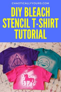 DIY Bleach Stencil T-shirts: Make Your Own Awesome Shirts! Chaotically Yours - Awsome Shirts - Ideas of Awsome Shirts - These DIY Bleach Stencil T-shirts are cute and easy to make! Great project to do with your kids! Gebleichte Shirts, Diy Kids Shirts, Diy Tie Dye Shirts, T Shirt Diy, Bleach Spray Shirt, Diy Clothes Bleach, Bleach Shirts, Clothes Refashion, T Shirt Stencils