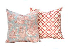 Two coral pillow covers,  Home decor, decorative pillow, throw pillow, Coral Pillow,  Grey  pillow, Toile Pillow by ThatDutchGirlHome on Etsy