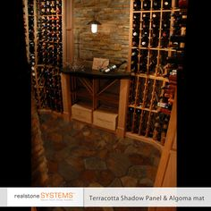 rustic looking wine cellar in Terracotta Shadowstone with matching floor