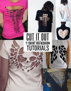 Get out your scissors! Great t-shirt refashion tutorials. T-shirt Refashion, Diy Clothes Refashion, Diy Clothing, Zerschnittene Shirts, Ripped Shirts, Sewing Shirts, Skull Shirts, Band Shirts, Look 80s