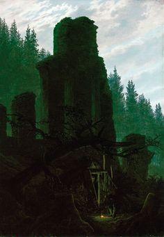 Caspar David Friedrich, Ruinen in der Abenddämmerung (Kirchenruine im Wald), vers 1831. Munich, Neue Pinakothek.